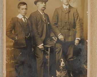 ON SALE Antique Cabinet Photograph ~ British Family With Spaniel Dog C1902
