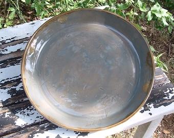 Handmade stoneware botanical leaf platter