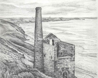 Cornish Seascape Print - Poldark inspired - Wheal Coates Engine House - Cornish history - black and white print