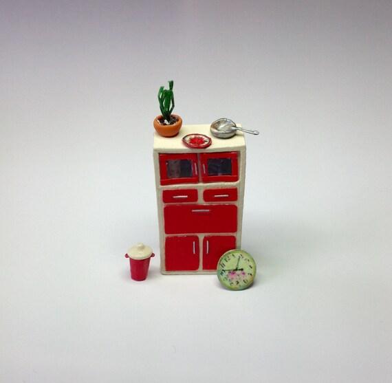 Miniature 1 4 1 48 Quarter Inch Cupboard Cabinet With Bin Wall