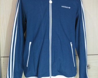 Vintage Adidas retro 1980s Tracksuit top Warm Up Track top Zip up Jacket Retro Mens M Rare