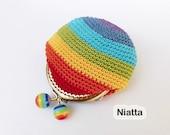 crochet gift for her bag retro rainbow coin purse women accessories metal frame purse change purse money pouch egst Niatta