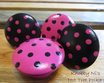 Hot Pink and Black Polka Dot Drawer Knobs   Dresser Pulls   Nail Covers - Teen Girl's Bedroom