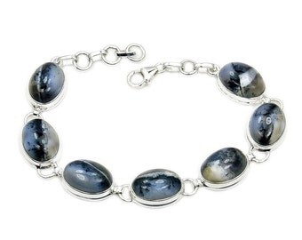 Dendritic Opal & .925 Sterling Silver Bracelet , AD913