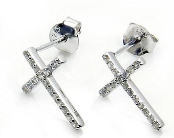 CZ & .925 Sterling Silver Cross Earrings Stud Earrings , X257