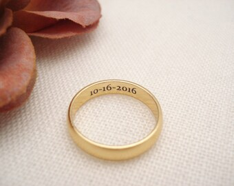 Personalized Gold Filled Ring 4mm Band ...Custom Engravable ring, eternity ring, Best friends ring, Promise ring,