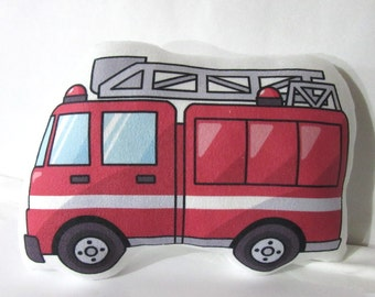 Unique Baby Pillow, Sweet Fire Engine Shape Pillow, Dream Care, Beautiful Plush Soft Baby Pillow, Fire Engine Name Pillow, Nursery Pillow