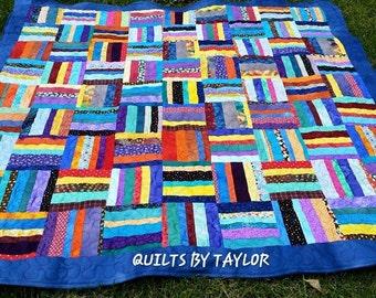 Blue Scrappy Quilt, Rainbow Hand Dyed Lap Size Quilt, Purple Quilt