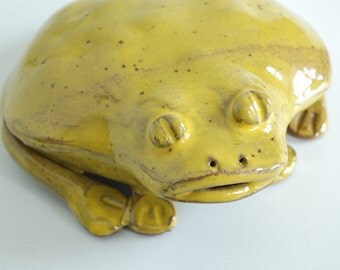 Ceramic frog key hider with speckle yellow glaze on brown stoneware