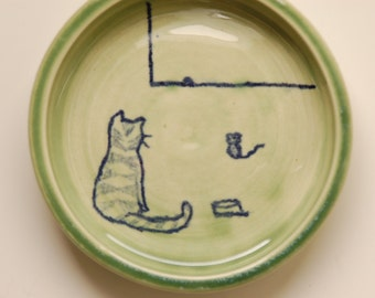 "cat dish,""The Race"", hand thrown porcelain, green glaze with drawing, small size"