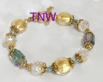 Blue, Gold and Aqua Venetian Bead Bracelet, Murano Glass bracelet