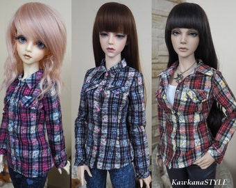 Kawkana -  Checkered shirt with flowers, Western Style, blouse for SD, SD16, Iplehouse SID 1/3 dollfie