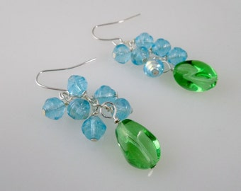 Green and Aqua Cluster Earrings/ Czech Bead Dangle Earrings