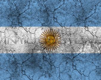 Argentina Flag Worn Distressed Vintage Vinyl Decal Sticker