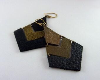 Geometric Jewelry, Geometric Leather Earrings, Lightweight Earrings, Tri colored Earrings, Statement Earrings, Repurposed Leather Earrings