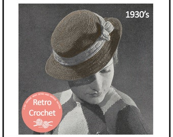 1930's Crocheted Hat Pattern - Instant Download - PDF Instant Download - PDF Crochet Pattern