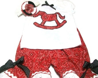 Rocking Horse Outfit,  Baby Girls Bloomer Set,  Red Rocking Horse Bloomers,  Baby Girls Clothes