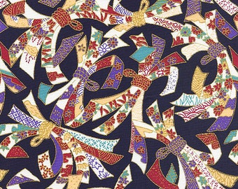 "NOSHI ""Good Luck"" Ribbons: Navy/Gold Metallic Asian Fabric (By The Half Yard)"