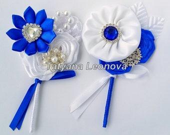 Boutonnieres, cornflower blue, white