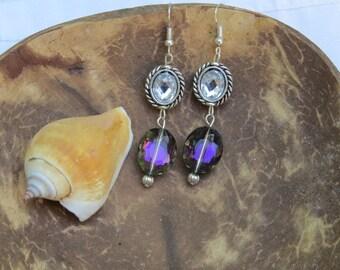 Clear Violet Glass Bead Earrings Long Dangle Earrings Drop Earrings SALE