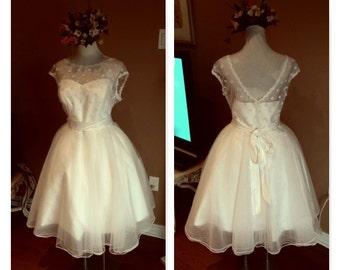 Short wedding dress with pocket, 50s wedding dress, vintage wedding dress