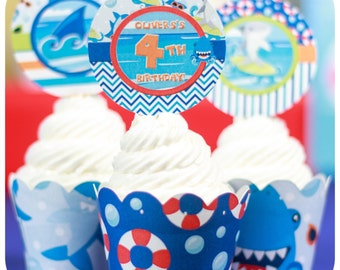 Shark Party; Shark Party; Shark Birthday Party; Shark Birthday; Shark Birthday Party; Sharks cupcake wrappers and toppers : PDF  Printable