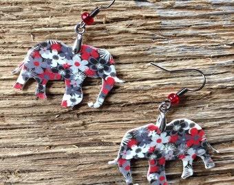 Black, white, and red floral elephant earrings: Alabama Roll Tide elephant earrings