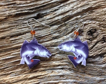 Clemson Tigers red drum earrings: purple fish with Clemson paw spot earrings