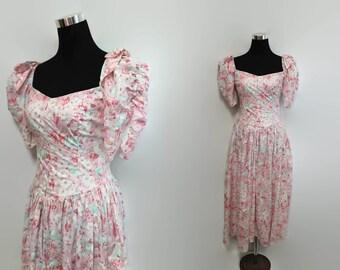 Pastel Grunge Dress / 80s Floral Dress XS / 1980s Cotton Floral Dress / Pink Off The Shoulder Dress / 80s Clothing