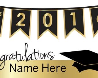 Black and Gold Congratulations Graduation Banner with Cap