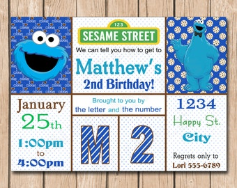 Cookie Monster Birthday Invitation | Boy or Girl, Sesame Street - 1.00 each printed or 12.00 DIY file
