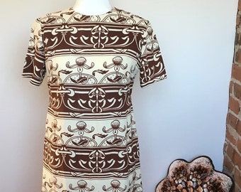 ON SALE Vintage amazing brown / white shift dress