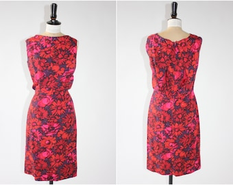 Vintage original 1950s 50s Jerry Gilden floral print wiggle dress with amazing back rhinestones! UK 10 12 US 6 8 S M