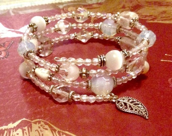 Ladies' Aroura Borealis Crystal Czech Glass Wrap Bracelet