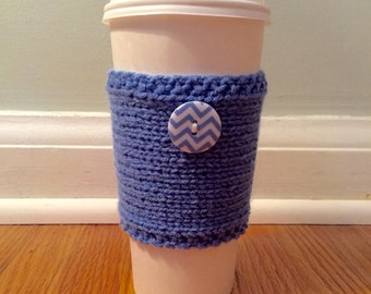 handmade knitted coffee cozy with chevron button (in blue)