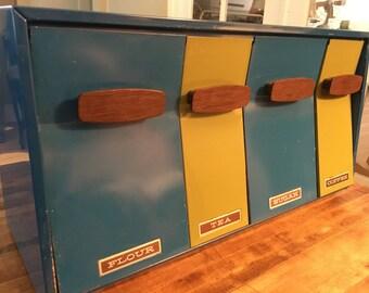 Super cool vintage retro blue and gree  canister set: Flour, Tea, Coffee, Sugar