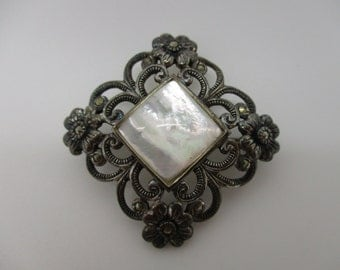 Sterling Silver Mother of Pearl and Marcasite Accented Square Flower Brooch Pin