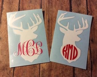 Deer monogram Car Window Vinyl Decal Doe Buck Monogrammed Browning