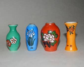 4 Porcelain Miniature Flower Vases Dollhouse Shadowbox Gold Rims Yellow Green Blue