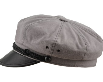 Vintage Harley Style Motorcycle Hat Pure Cotton and Natural Leather - ash grey / black