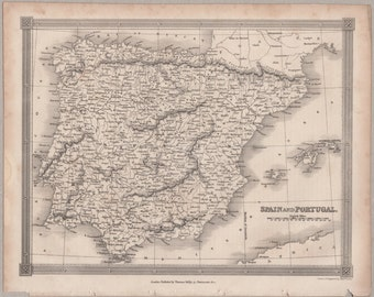 1843 Vintage Map of Spain and Portugal #00159