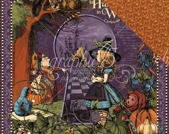 2 Sheets of HALLOWEEN IN WONDERLAND Scrapbook Paper by Graphic 45 - Halloween in Wonderland