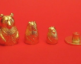 Bear Russian Doll Thimble Gold Plated Pewter Collectors Thimble Bear Gifts