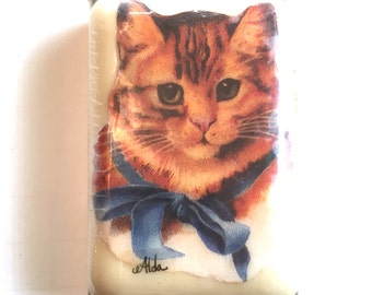 Cat Picture Soap, Cat Soap, Alda's Forever French Milled Soap, Cat Design Lasts The Life Of The Soap, Kitty with Blue Ribbon,