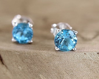 Blue topaz stud earrings Sterling silver 6 mm gemstone studs December birthstone jewelry Blue topaz earrings