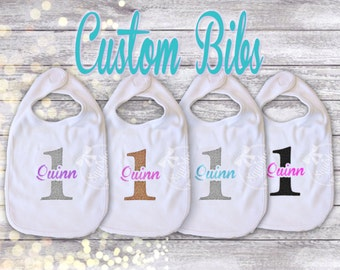 Birthday Bibs Smash Cake Bibs Custom Birthday Bibs Personalized Bibs with Name and Number, CHOOSE YOUR COLORS Matching Bibs 1st Birthday Bib