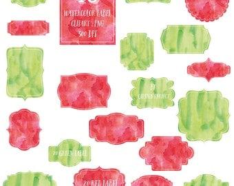 40 Watercolor Label Clipart  Scrapbook embellish Blog Graphics Commercial Use  Instant Download