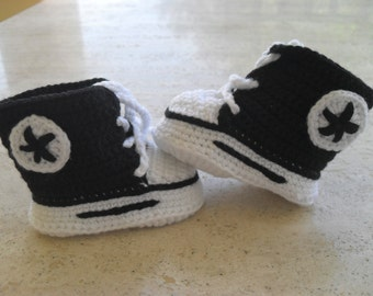 Crochet Baby Boy Converse, Crochet Baby Boy Booties, Baby Boy Boots Size 0 - 3 Mths Ready Made