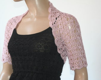 Dusty pink crochet shrug/ Wedding bolero shrug//Bolero jacket/Lace shrug/Bridal shoulders cover/Bridesmaids Cover up Bolero