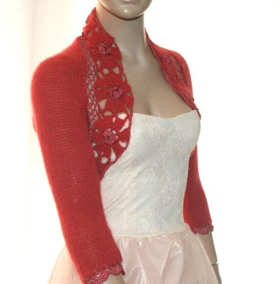Crochet Flower Shrug Pattern : Red Knit Shrug Flower Shrug Crochet Shrug Cape Bolero